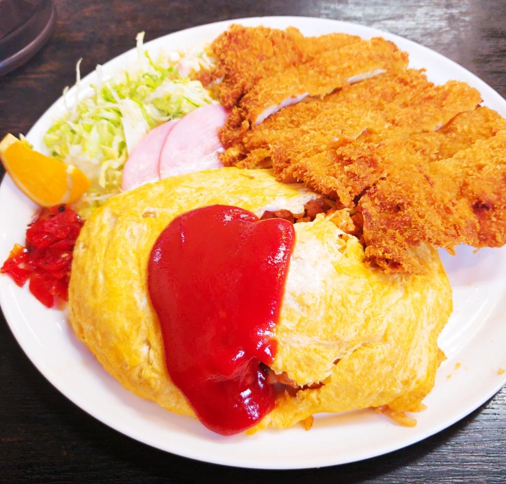 京都グルメレポート295再訪「みやこ食堂」オムライス(チキンカツ付き)