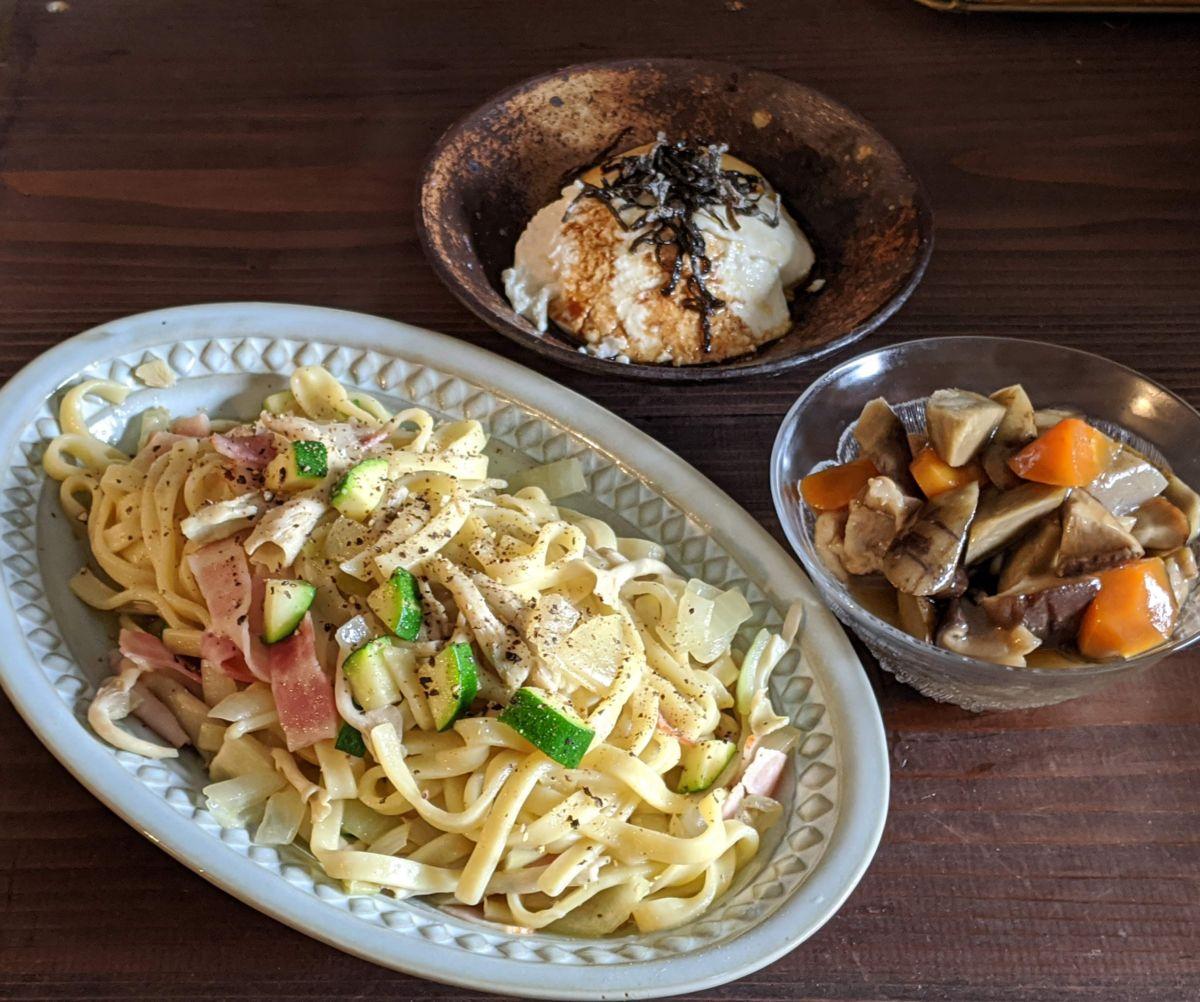 zensockskitchen〜野菜たっぷりオイルパスタ&筑前煮〜
